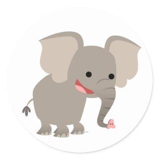 Laughing Cartoon Elephant Sticker sticker