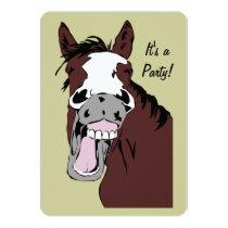 Laughing Cartoon Horse Birthday Custom Invite