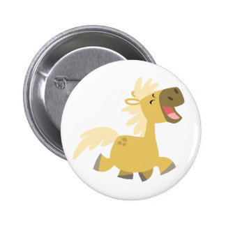Laughing Cartoon Pony button badge
