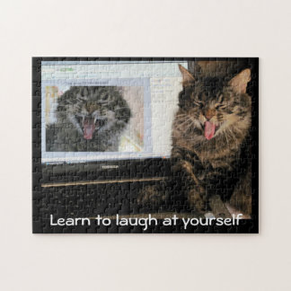 Laughing Cat Laughs at Himself Jigsaw Puzzle