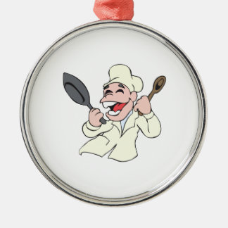 LAUGHING CHEF ROUND METAL CHRISTMAS ORNAMENT