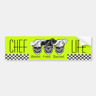 Laughing Chef Skulls Bumper Sticker