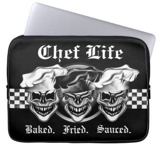 Laughing Chef Skulls Laptop Sleeve
