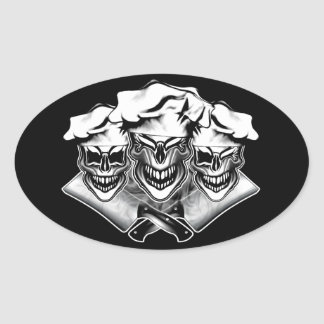Laughing Chef Skulls Oval Sticker