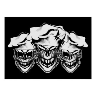 Laughing Chef Skulls Poster