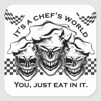 Laughing Chef Skulls Square Sticker