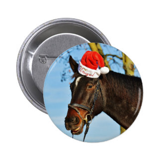 Laughing Christmas Horse Pinback Button