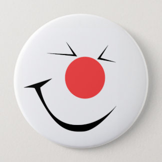 Laughing clown pinback button