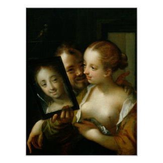 Laughing Couple with a mirror, 1596 Poster