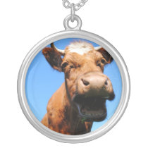 Laughing cow silver plated necklace