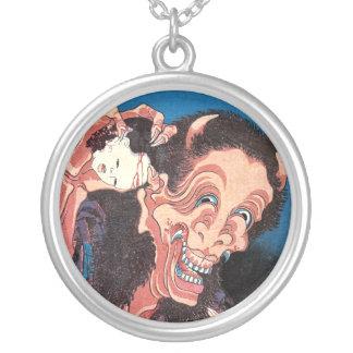 Laughing Demon Warai-Hannya, Hokusai Silver Plated Necklace
