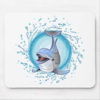 Laughing Dolphin in Splash Circle Mouse Pad