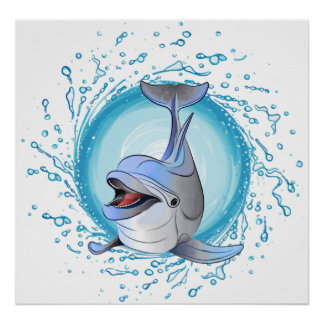 Laughing Dolphin in Splash Circle Poster