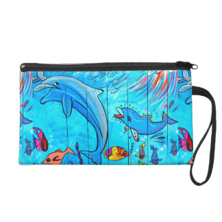 laughing dolphins blue wristlet