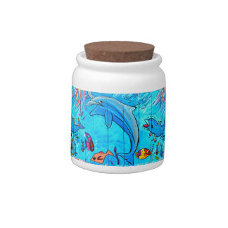laughing dolphins candy jar