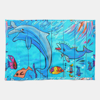 laughing dolphins kitchen towel