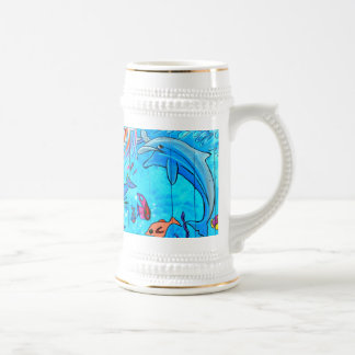 laughing dolphins tropical fish stein mug