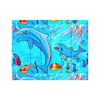 laughing dolphins wrapped canvas gallery wrap canvas