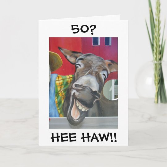 Laughing Donkey Greeting For 50th Birthday Card Zazzle