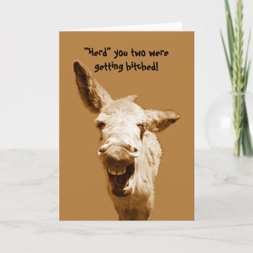 Laughing Donkey Wedding Wishes Card