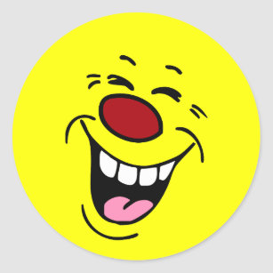 Laughing Face Grumpey Classic Round Sticker