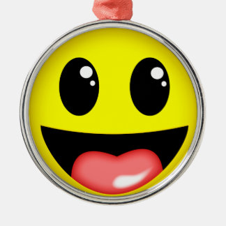Laughing face metal ornament