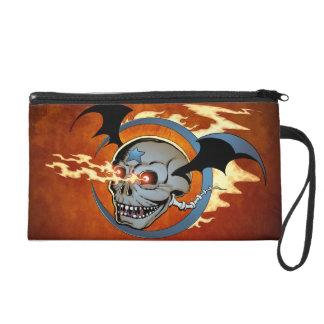 Laughing Flaming Eyeballs Skull with Bat Wings Wristlet