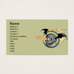 Laughing Flaming Eyeballs Skull with Bat Wings Business Card