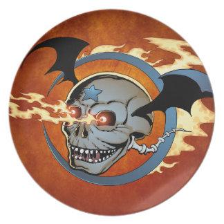 Laughing Flaming Eyeballs Skull with Bat Wings Dinner Plate