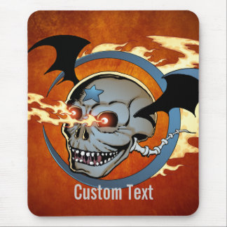 Laughing Flaming Eyeballs Skull with Bat Wings Mouse Pad