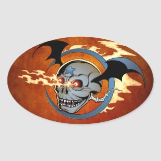 Laughing Flaming Eyeballs Skull with Bat Wings Oval Sticker
