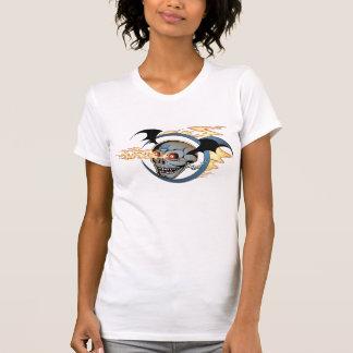 Laughing Flaming Eyeballs Skull with Bat Wings T Shirt