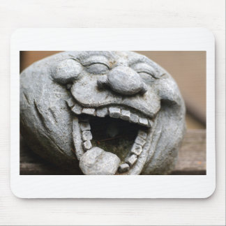 laughing garden gnome of cement mouse pad
