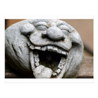 laughing garden gnome of cement postcard