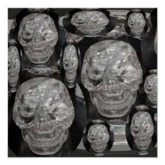 Laughing Ghose - BNW Skulls Poster