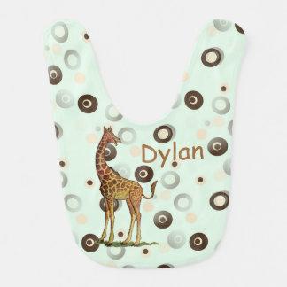 Laughing Giraffe Green Dot Personalized Baby Bib