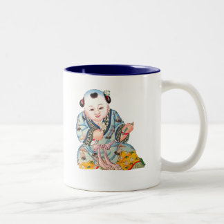Laughing Good Luck Buddha Asian Buddhist art Two-Tone Coffee Mug