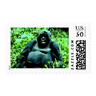 Laughing Gorilla Pop Art Postage Stamp