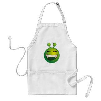 Laughing green alien apron