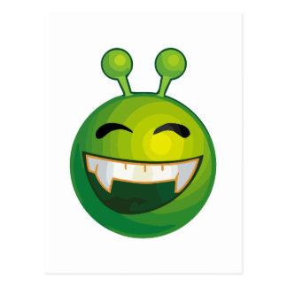 Laughing green alien postcard