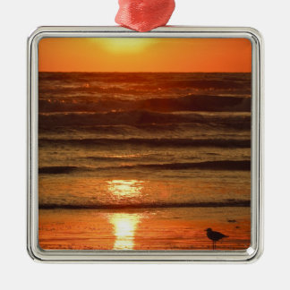Laughing Gull Larus atricilla) silhouetted Christmas Ornament