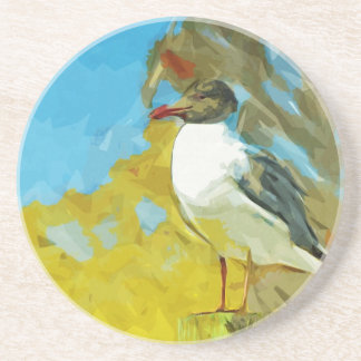Laughing Gull on Pier Abstract Impressionism Coaster