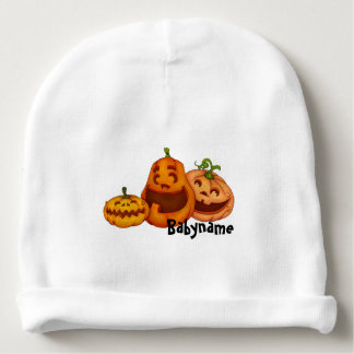 Laughing Halloween Jack O Lanterns Personalized Baby Beanie