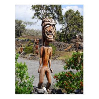 Laughing Hawaiian Ki'i Sculpture Postcard