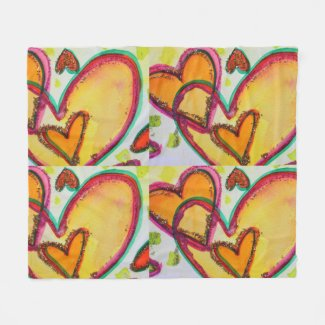 Laughing Hearts Connect Fleece Throw Blanket