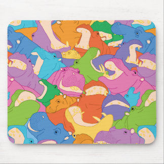 Laughing Hippos - bright colours Mouse Pad