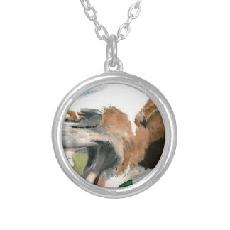 Laughing Horse Round Pendant Necklace