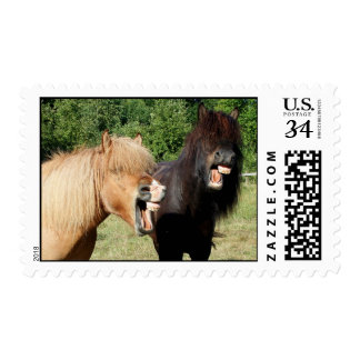 Laughing horses postage stamp