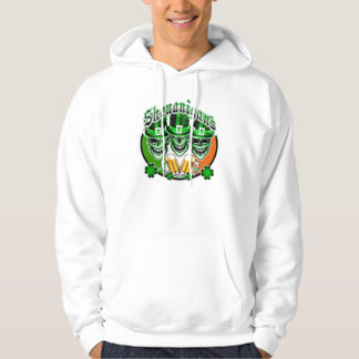 Laughing Irish Leprechaun Skulls: Shenanigans Hooded Sweatshirts