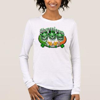 Laughing Irish Leprechaun Skulls: Shenanigans Long Sleeve T-Shirt